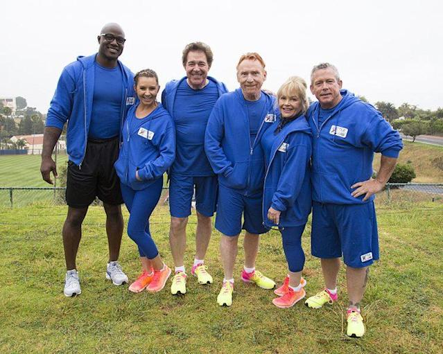 Demarcus Ware, Beverly Mitchell, Barry Williams, Danny Bonaduce, Charlene Tilton, and Willie Aames on ABC's 'Battle of the Network Stars' (Photo Credit: ABC)