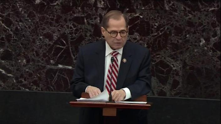 WASHINGTON, D.C., JANUARY 23, 2020: DAY3 : In this image from video, impeachment manager Rep. Jerold Nadler D-NY., speaks during the impeachment trial against President Donald Trump in the Senate at the U.S. Capitol in Washington, Thursday, Jan. 23, 2020. (Senate Television)