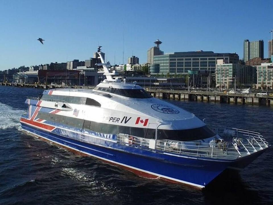The passenger-only fast ferry service between Seattle and Victoria has been suspended until spring due to reduced demand. (FRS - image credit)