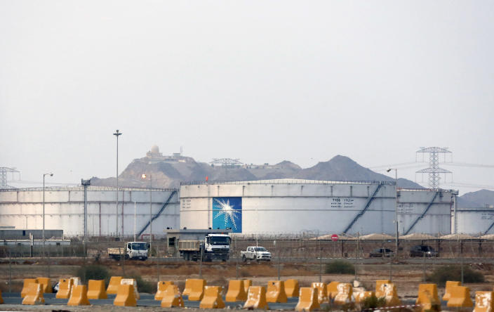 FILE - This Sept. 15, 2019, file photo, shows storage tanks at the North Jiddah bulk plant, an Aramco oil facility, in Jiddah, Saudi Arabia. Yemen's Houthi rebels said they struck a Saudi oil facility in the port city of Jiddah on Thursday, March 4, 2021, the latest in a series of cross-border attacks the group has claimed against the kingdom amid the grinding war in Yemen. A Houthi military spokesman, tweeted that the rebels fired a new Quds-2 cruise missile at the facility. He posted a satellite image online that matched Aramco's North Jiddah Bulk Plant, where oil products are stored in tanks. (AP Photo/Amr Nabil, File)