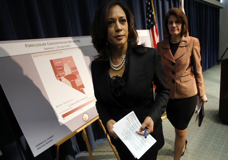 LOS ANGELES, CALIF. - DEC. 6, 2011. California Attorney General Kamala D. Harris , left, and Nevada Attorney General Catherine Cortez Masto conclude a press conference Tuesday, Dec. 6, 2011, where they announced a joint investigation alliance to assist homeowners who have been harmed by misconduct and fraud in the mortgage industry. The cooperative venture will combine the resources of both states' civil and criminal enforcement teams, which will share strategies, information and evidence as each office pursues independent criminal prosecutions. (Photo by Luis Sinco/Los Angeles Times via Getty Images)