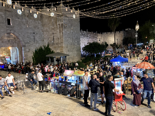 """<span class=""""caption"""">Traditional Ramadan meeting place: Jerusalem's Damascus Gate, after police removed barriers.</span> <span class=""""attribution""""><span class=""""source"""">Ade Ruished</span>, <span class=""""license"""">Author provided</span></span>"""