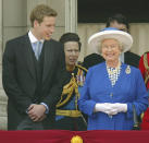 <p>The Queen shares a laugh with William during the 2003 Trooping the Colour in London. (Scott Barbour/Getty Images)</p>