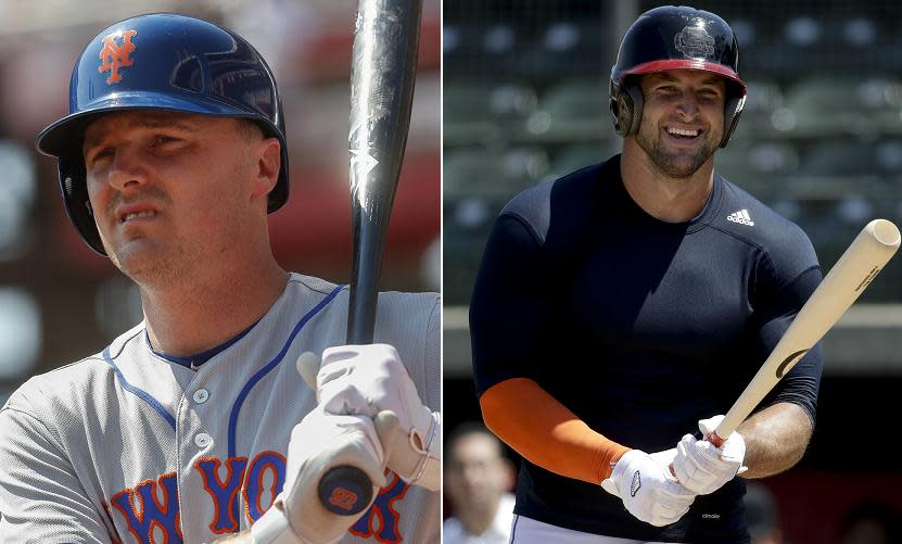 Jay Bruce (left) of the Mets isn't all that excited about Tim Tebow's (right) venture into baseball. (AP photos)