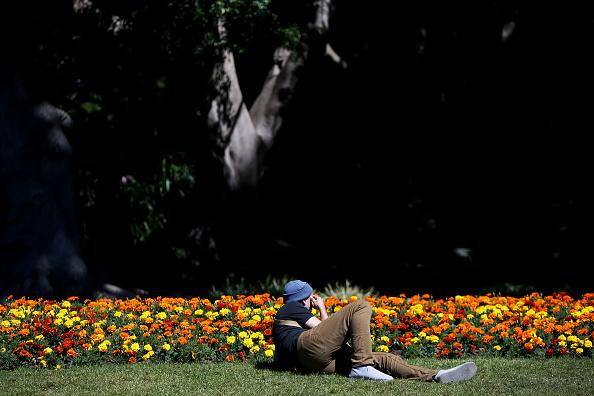 A man lays in the sun at Hyde Park in Sydney, Australia.