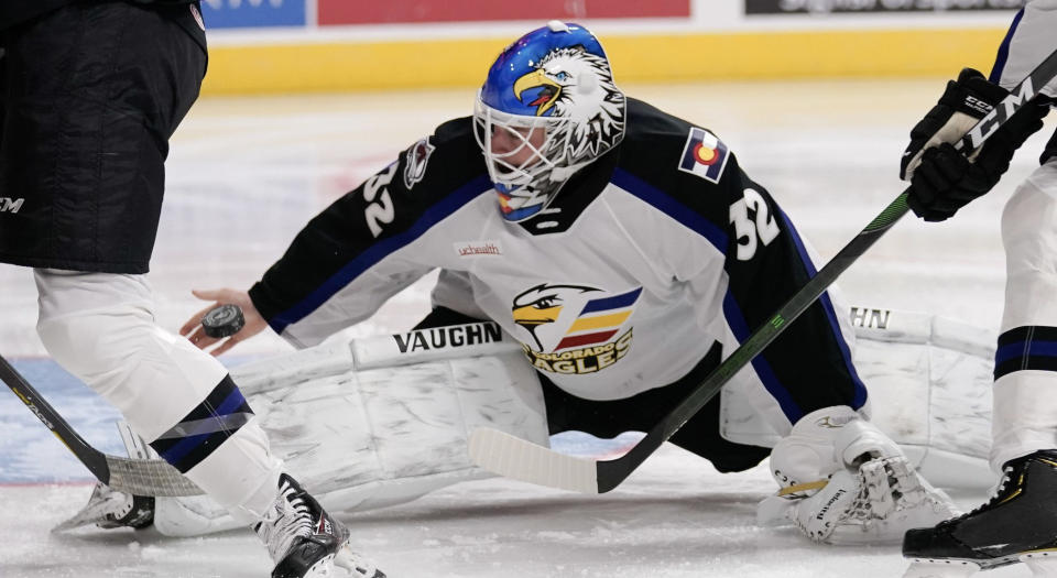 Apparently Hunter Miska of the Colorado Eagles doesn't even need a blocker to make highlight-reel saves. (Twitter//@TheAHL)