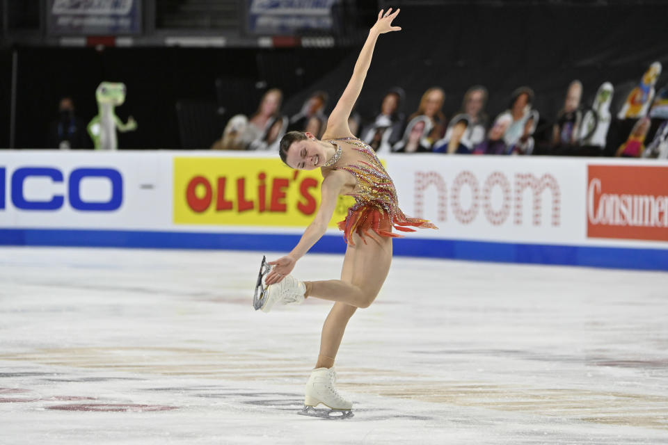 FILE - Mariah Bell of the United States competes during the women's short program of the International Skating Union Grand Prix of Figure Skating Series in Las Vegas, in this Friday, Oct. 23, 2020, file photo. While Nathan Chen will be the headliner at the U.S. Figure Skating Championships that begin Thursday, Jan. 14, 2021, in Las Vegas, Mariah Bell could be the scene stealer. (AP Photo/David Becker, File)