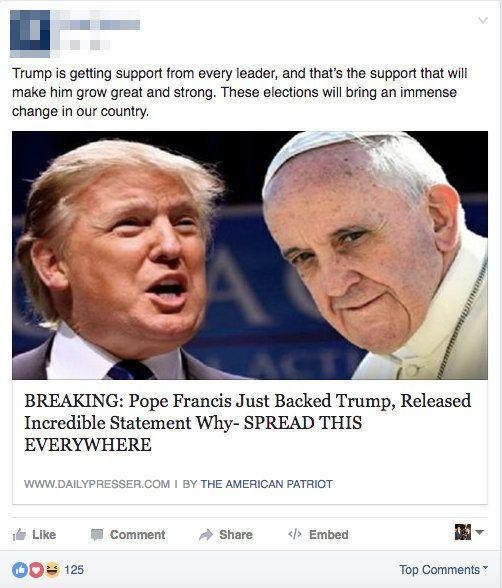 """<a href=""""http://www.huffingtonpost.com/entry/pope-francis-election-advice_us_57f1eb0de4b0c2407cde7f5a"""">False</a>. Indeed,the popesaidof Donald Trump earlier this year, """"<a href=""""http://www.huffingtonpost.com/entry/pope-francis-donald-trump-christian_us_56c5f9c8e4b0c3c5505402d1"""">This man is not Christian</a>."""""""