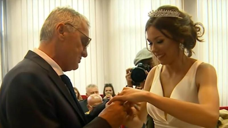 Milojko Bozic, 74, and 21-year-old Milijana Bogdanovic married near their home in Serbia. Photo: Australscope