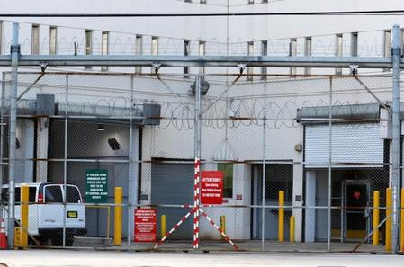 A view shows the entrance to Broward County Jail in Fort Lauderdale, Florida