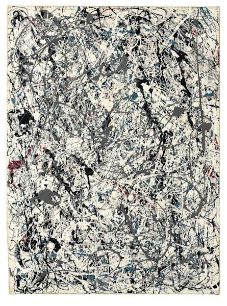 "This image released by Christie's auction house on Friday April 12, 2013, shows a drip painting by Jackson Pollock. The important drip painting by Pollock, ""Number 19,"" realized a record $58.3 million at the Christie's auction Wednesday May 15, 2013. (AP Photo/Christie's)"