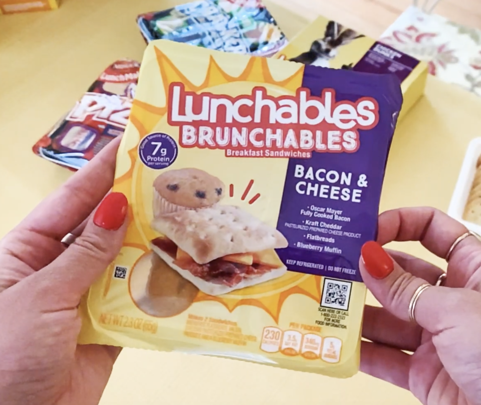 <p>I would very much like Millennials to be removed from this Brunchable narrative. We did not ask for this! The flatbread was very difficult to slice in half and ended up crumbling apart and there were three small pieces of bacon for two sandwiches...which...doesn't even make sense in the Lunchable world. The only thing I loved about this combo was the blueberry muffin: It was sweet, moist, and had a decent amount of blueberries. </p>