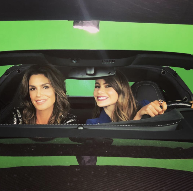 "<p>That's a lot of beauty for one car! The <em>Modern Family</em> star, 45, and the supermodel, 52, revved up the fun as they filmed a TV commercial together. ""Driving Miss @cindycrawford to the nearest @roomstogo,"" Vergara wrote. (Photo: <a href=""https://www.instagram.com/p/Be4oMScg1V6/?taken-by=sofiavergara"" rel=""nofollow noopener"" target=""_blank"" data-ylk=""slk:Sofia Vergara via Instagram"" class=""link rapid-noclick-resp"">Sofia Vergara via Instagram</a>) </p>"