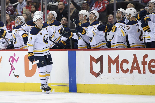 Buffalo Sabres center Jack Eichel (9) celebrates this goal during the second period of an NHL hockey game against the Washington Capitals, Saturday, Dec. 15, 2018, in Washington. (AP Photo/Nick Wass)
