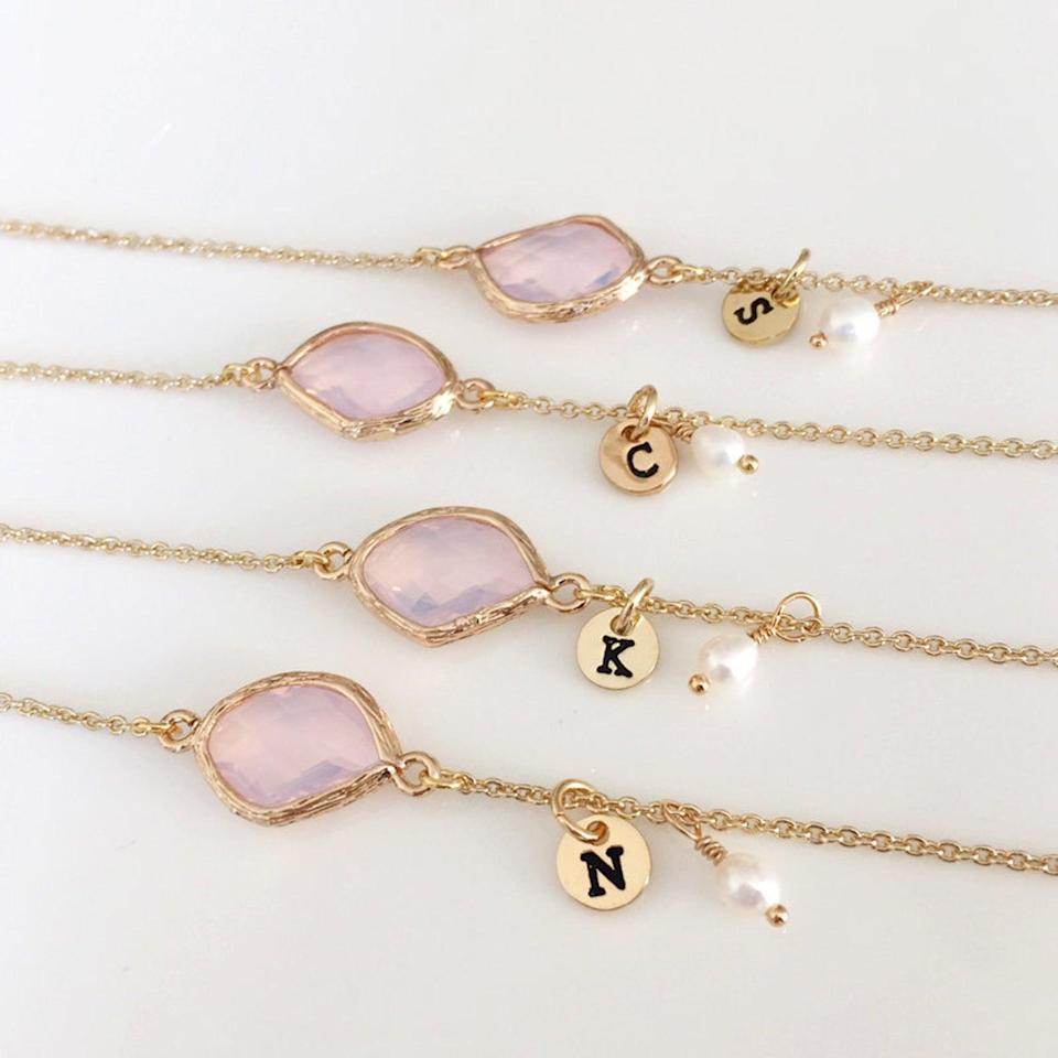 <p>The <span>Personalized Birthstone With Initial Charm Bracelet</span> ($10, and up) is the utlimate form of personalization. Not only can you get their initial as a charm, but also, make it unique with their birthstone. It's perfect for stacking and layering. </p>