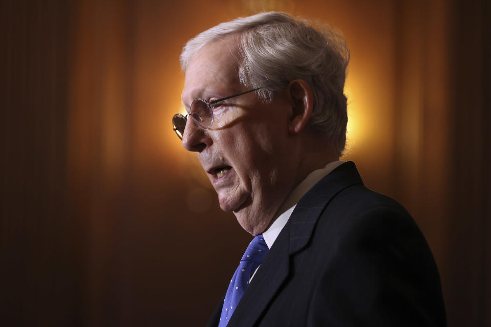 Senate Majority Leader Mitch McMcConnell of Ky., speaks to reporters on Capitol Hill in Washington, Tuesday, Dec. 1, 2020. (Chip Somodevilla/Pool via AP)