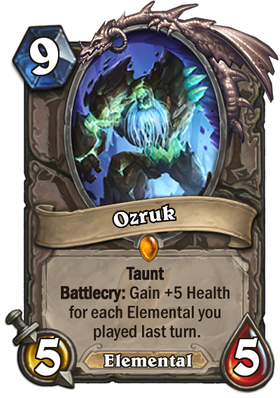 <p>Ozruk's cost may seem high at first glance, but the fact that his Health can skyrocket depending on your previous turn makes him a strong option to stymie any aggression coming from the opposing side. Just hope they don't have any single-target removal when you drop him. </p>
