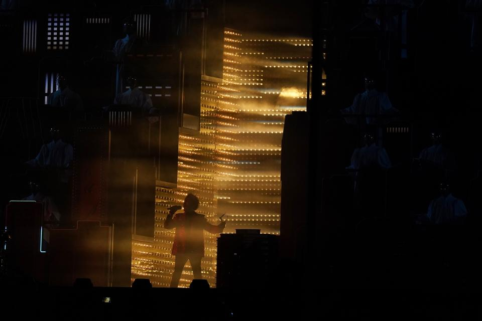 The Weeknd performs during halftime of the NFL Super Bowl 55 football game game between the Kansas City Chiefs and Tampa Bay Buccaneers, Sunday, Feb. 7, 2021, in Tampa, Fla. (AP Photo/Gregory Bull)