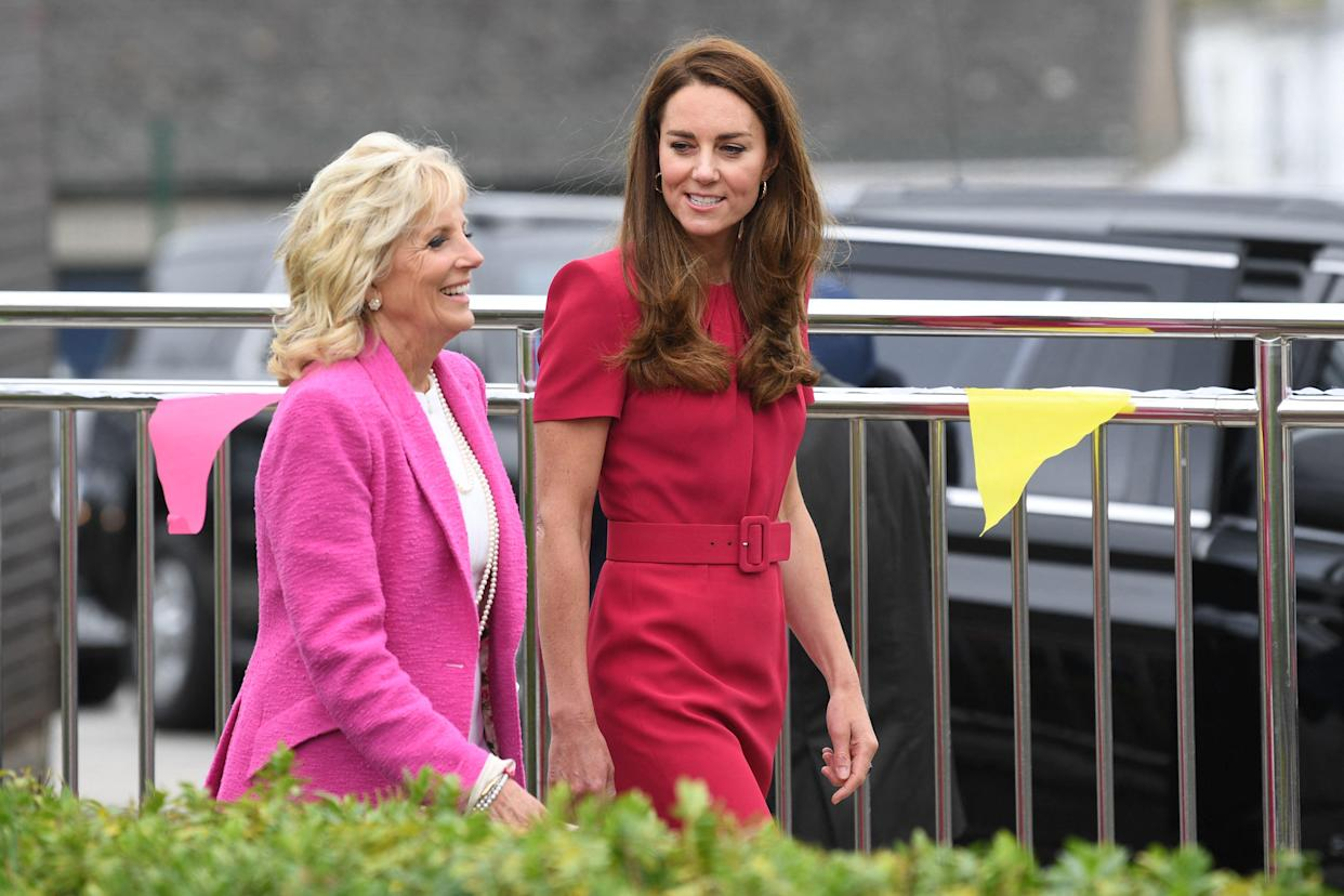 Britain's Catherine, Duchess of Cambridge and US First Lady Jill Biden visit Connor Downs Academy in Hayle, Cornwall on the sidelines of the G7 summit on June 11, 2021. (Photo by DANIEL LEAL-OLIVAS / various sources / AFP) (Photo by DANIEL LEAL-OLIVAS/AFP via Getty Images)
