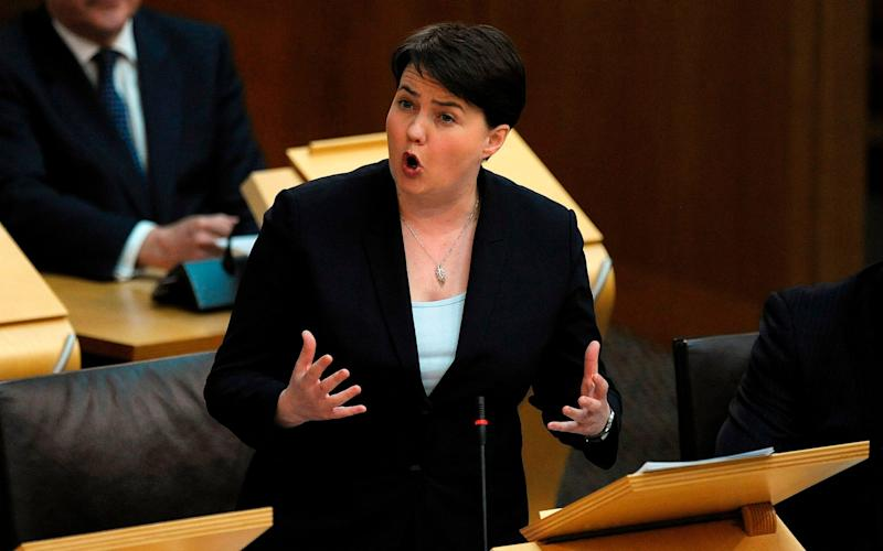 Ruth Davidson told MSPs Scots were sick of the nationalists' obsession with independence - Credit: AFP