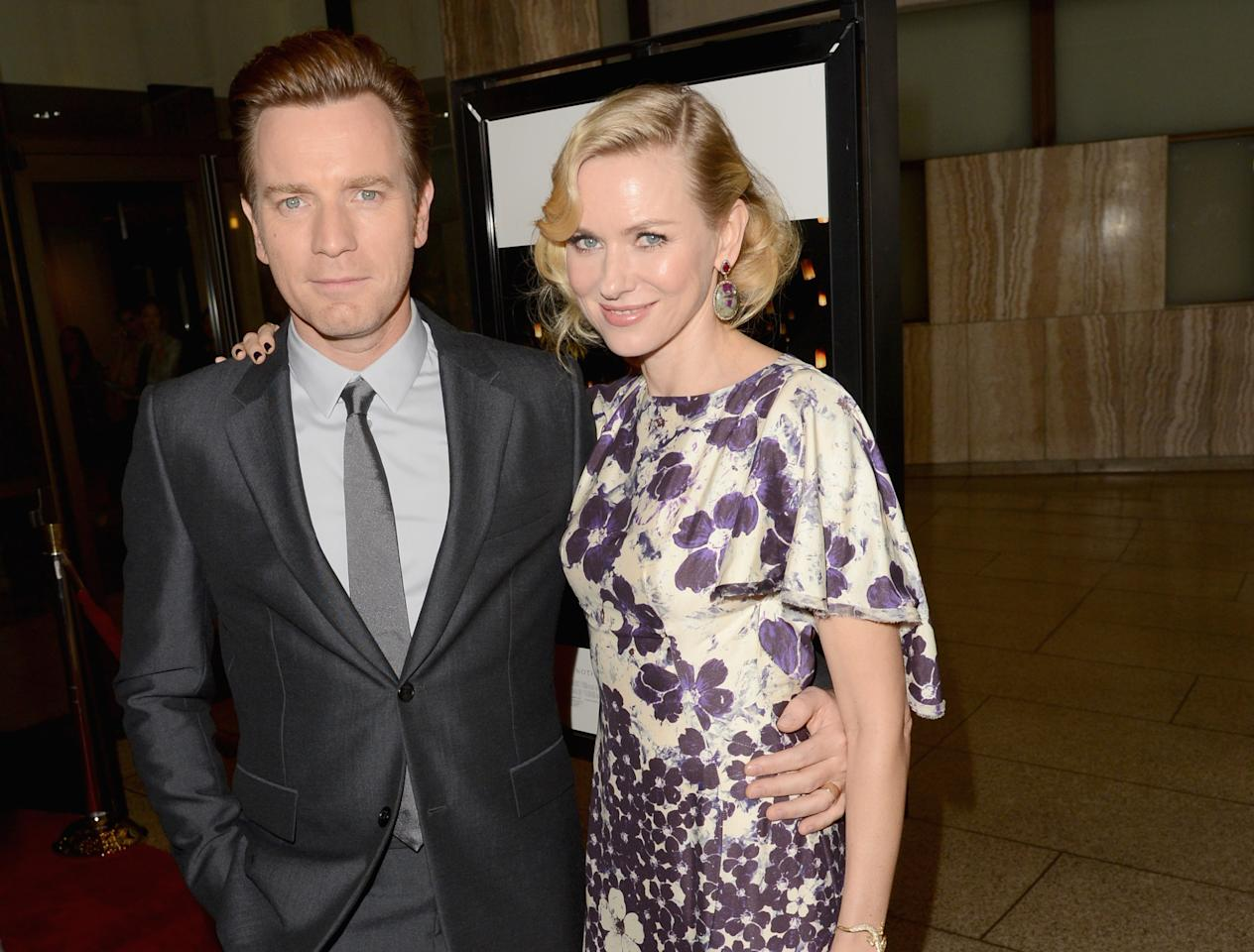 """HOLLYWOOD, CA - DECEMBER 10:  Actors Ewan McGregor (L) and Naomi Watts attend the Los Angeles premiere of Summit Entertainment's """"The Impossible"""" at ArcLight Cinemas Cinerama Dome on December 10, 2012 in Hollywood, California.  (Photo by Jason Merritt/Getty Images)"""