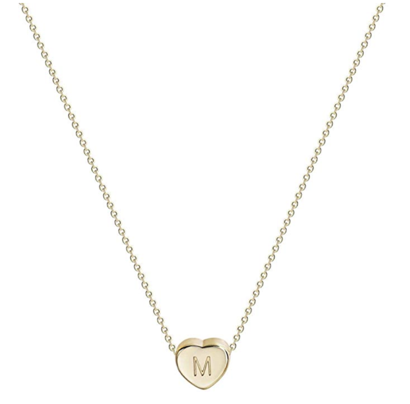 Gold Initial Heart Necklace via Amazon