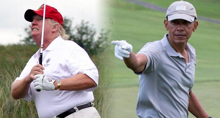 Donald Trump, Barack Obama golfing.