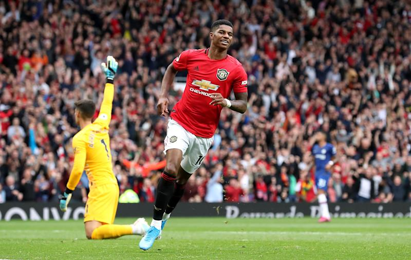 Manchester United's Marcus Rashford celebrates scoring his side's third goal (Martin Rickett/PA Wire)