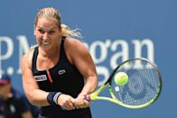 Dominika Cibulkova returns a shot against Ana Ivanovic during their US Open match on August 31, 2015 in New York (AFP Photo/Timothy A. Clary)