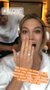 <p>Karlie Kloss announced her engagement to long term boyfriend Josh Kushner via Instagram on 24 July. Later, the model – who has been in a relationship with Kushner for six years – took to Instagram Stories to share a sneak preview of her impressive cushion cut diamond. <em>[Photo: Instagram]</em> </p>