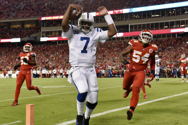 """<a class=""""link rapid-noclick-resp"""" href=""""/nfl/players/29325/"""" data-ylk=""""slk:Jacoby Brissett"""">Jacoby Brissett</a> and the <a class=""""link rapid-noclick-resp"""" href=""""/nfl/teams/indianapolis/"""" data-ylk=""""slk:Colts"""">Colts</a> got a big win against the Chiefs on Sunday, but their playoff hopes may have taken a hit. (AP Photo/Ed Zurga)"""