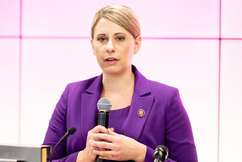 Former U.S. representative Katie Hill speaking in 2019. | Michael Brochstein/SOPA Images/LightRocket via Getty