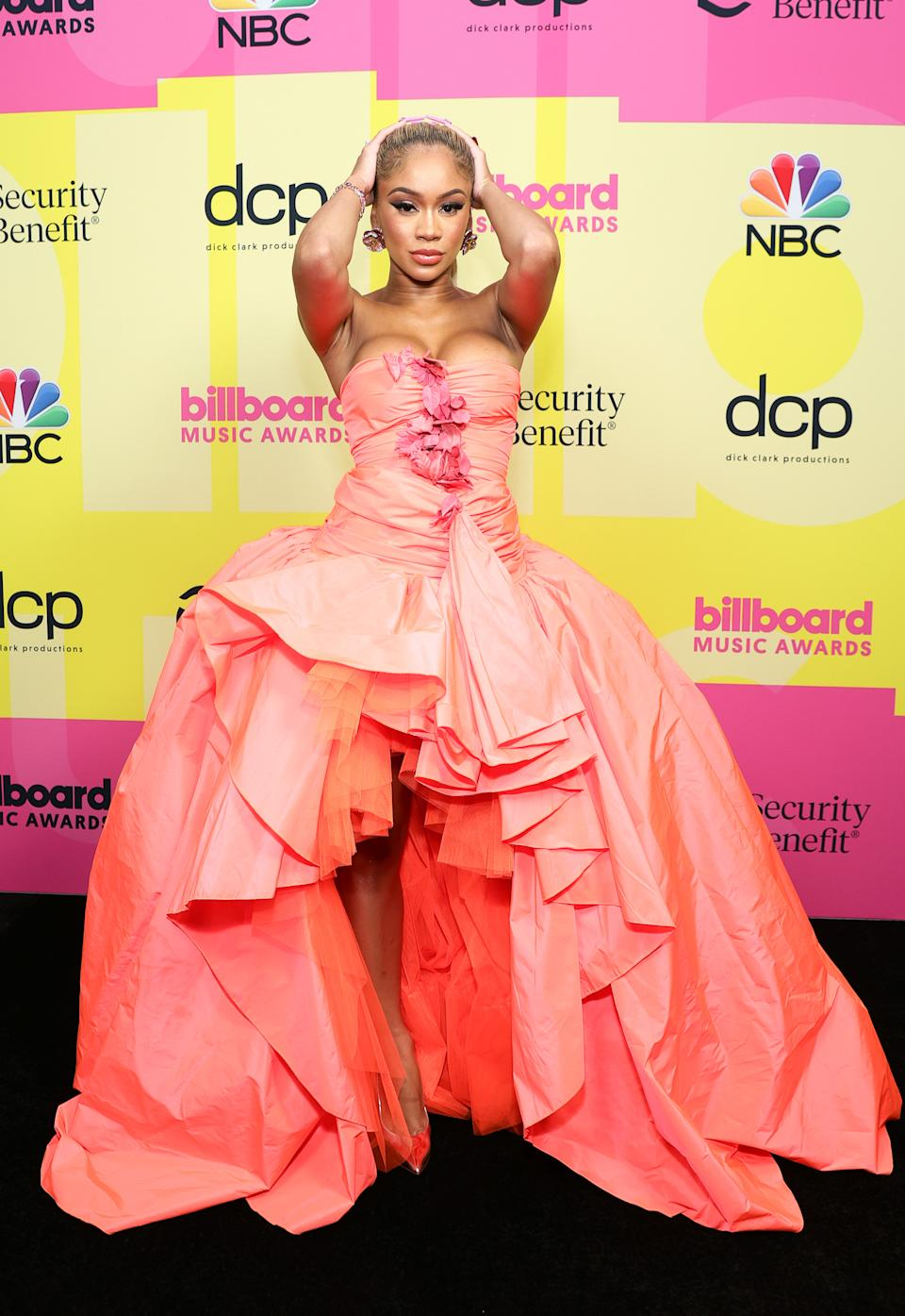 LOS ANGELES, CALIFORNIA - MAY 23: In this image released on May 23, Saweetie poses backstage for the 2021 Billboard Music Awards, broadcast on May 23, 2021 at Microsoft Theater in Los Angeles, California. (Photo by Rich Fury/Getty Images for dcp)