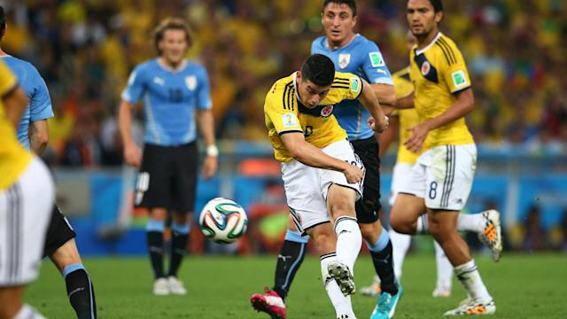 James Rodriguez Colombia Uruguay FIFA World Cup Brazil 2014