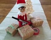 """<p>How cute are this elf's brown paper packages, tied up with strings? You can fill them with dollar-store trinkets, or pieces of candy, as a gift from your elf to your kids.</p><p><a class=""""link rapid-noclick-resp"""" href=""""https://www.amazon.com/Fun-Express-Mini-Boxes-Dozen/dp/B0063WW1J2/?tag=syn-yahoo-20&ascsubtag=%5Bartid%7C10055.g.3033%5Bsrc%7Cyahoo-us"""" rel=""""nofollow noopener"""" target=""""_blank"""" data-ylk=""""slk:SHOP MINI GIFT BOXES"""">SHOP MINI GIFT BOXES</a></p><p><em><a href=""""http://www.rachelswartley.com/2014/01/02/the-rest-of-zippys-december-adventures/"""" rel=""""nofollow noopener"""" target=""""_blank"""" data-ylk=""""slk:See more at Rachel Swartley »"""" class=""""link rapid-noclick-resp"""">See more at Rachel Swartley »</a></em></p>"""