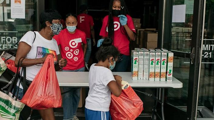 Many Americans have come to rely on food banks like this one in New York