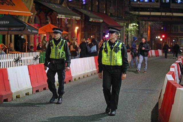 Police officers out in Leeds city centre, ahead of a national lockdown for England from Thursday