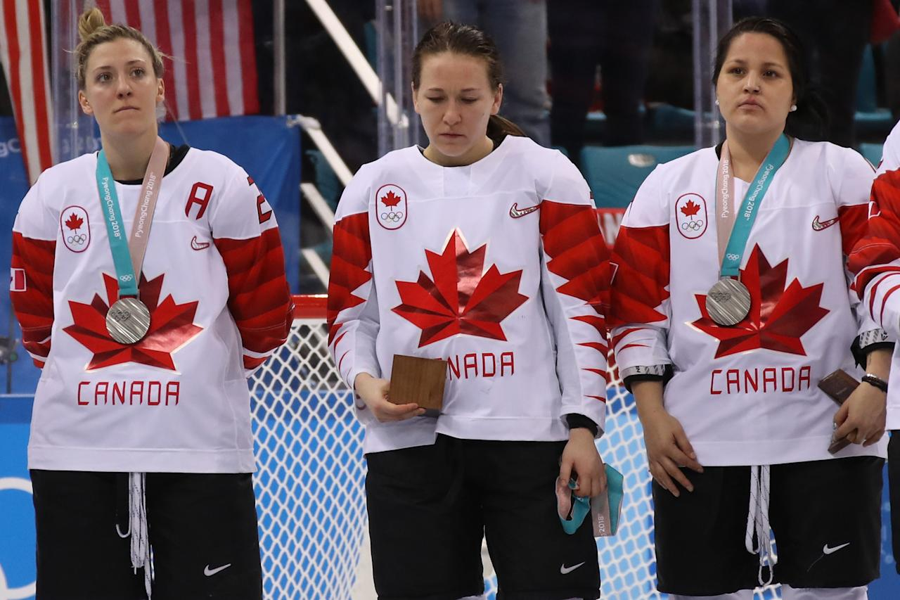 <p>Jocelyne Larocque #3 of Canada refuses to wear her silver medal after losing to the United States in the Women's Gold Medal Game on day thirteen of the PyeongChang 2018 Winter Olympic Games at Gangneung Hockey Centre on February 22, 2018 in Gangneung, South Korea. (Photo by Bruce Bennett/Getty Images) </p>