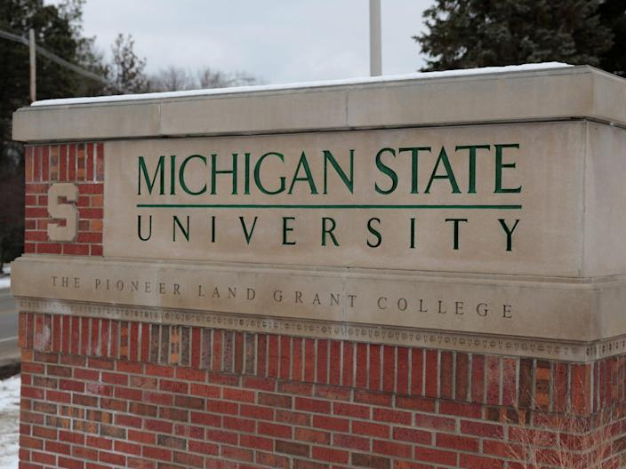 "A sign for Michigan State University is seen near the campus in East Lansing. <p class=""copyright"">REUTERS/Rebecca Cook</p>"