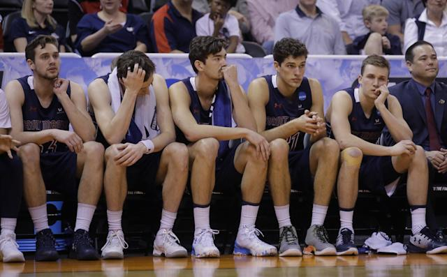 <p>The Saint Mary's bench look on during the final minute of second half of a second-round college basketball game against Arizona in the men's NCAA Tournament Saturday, March 18, 2017, in Salt Lake City. (AP Photo/Rick Bowmer) </p>