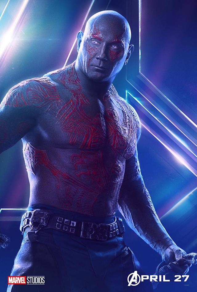 <p>Dave Bautista's character also has a vendetta against Thanos: seeking vengence for his murdered family. (Photo: Marvel Studios) </p>