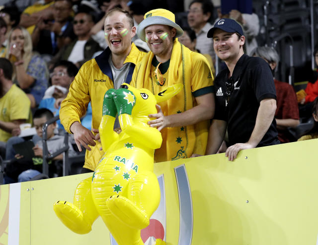 Fans wait for the start of the Rugby World Cup Pool D game at Sapporo Dome between Australia and Fiji in Sapporo, Japan, Saturday, Sept. 21, 2019. (AP Photo/Aaron Favila)