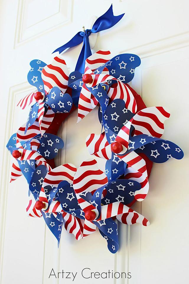 "<p>This easy wreath can be made in 15 minutes with just a few supplies including <a rel=""nofollow"" href=""https://www.amazon.com/Breeze-Patriotic-Pinwheel-Spinners-assortment/dp/B0095EU656/"">plastic pinwheels</a>, a <a rel=""nofollow"" href=""https://www.amazon.com/Smooth-Foam-Wreath-Ring-White/dp/B01D0OKTKI/"">foam wreath</a>, <a rel=""nofollow"" href=""https://www.amazon.com/BENECREAT-Adhesive-Self-Adhesive-Resistant-Multi-purpose/dp/B07BGXW71Q/"">red craft fabric</a>, and <a rel=""nofollow"" href=""https://www.amazon.com/Double-Ribbon-Available-Vibrant-Colors/dp/B07CZ79WQS/"">blue satin ribbon</a>. </p><p><strong>Get the tutorial at <a rel=""nofollow"" href=""http://artzycreations.com/15-min-4th-of-july-pinwheel-wreath/"">Artzy Creations</a>. </strong></p>"