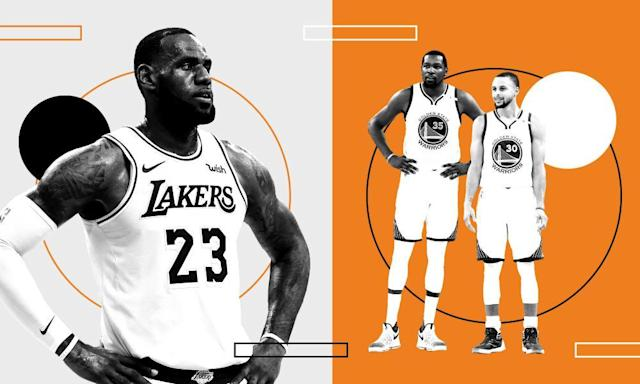 """<span class=""""element-image__caption"""">LeBron James will face the Golden State Warriors in the Western Conference after his move to the <a class=""""link rapid-noclick-resp"""" href=""""/nba/teams/lal"""" data-ylk=""""slk:Los Angeles Lakers"""">Los Angeles Lakers</a>. </span> <span class=""""element-image__credit"""">Composite: Getty Images</span>"""