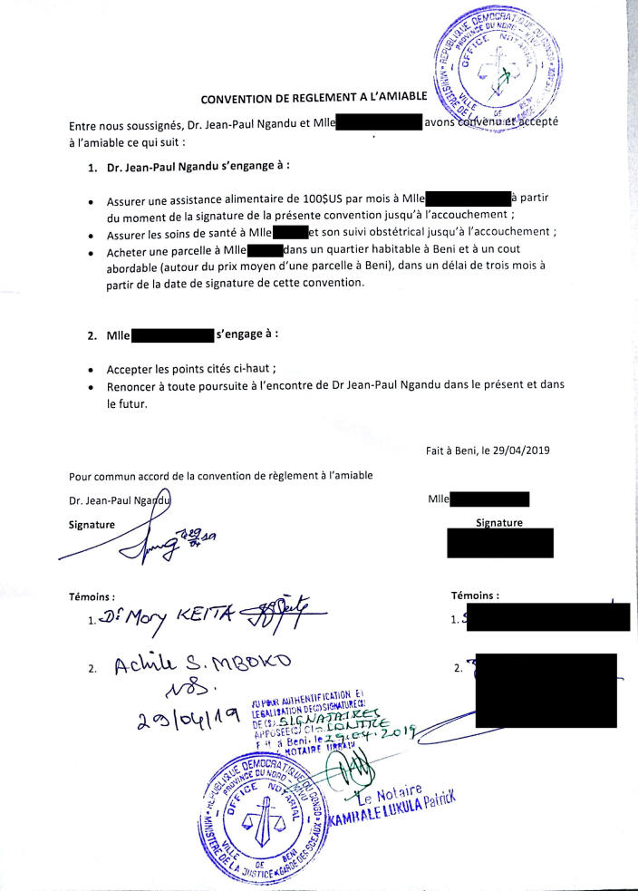 """This image provided by Dr. Jean-Paul Ngandu shows an April 29, 2019 contract between him and a Congolese woman he allegedly impregnated. The notarized document contains the signatures of two World Health Organization staff members, including a manager, as witnesses to the agreement. Ngandu promised to pay her a monthly stipend, cover the woman's pregnancy-related health costs and to buy her a plot of land. The deal was made """"to protect the integrity and reputation of the organization,"""" said Ngandu, who headed the WHO infection control team in Beni. The names of the woman and two other witnesses have been redacted to protect their privacy. (Courtesy Dr. Jean-Paul Ngandu via AP)"""