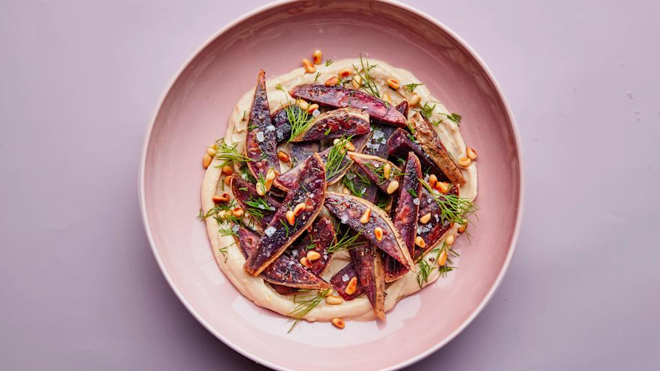 """<a href=""""https://www.bonappetit.com/recipe/sweet-potatoes-with-maple-tahini?mbid=synd_yahoo_rss"""" rel=""""nofollow noopener"""" target=""""_blank"""" data-ylk=""""slk:See recipe."""" class=""""link rapid-noclick-resp"""">See recipe.</a>"""