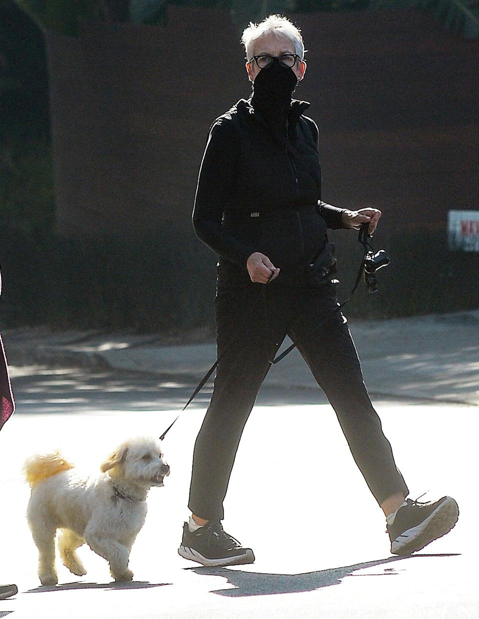 <p>Jamie Lee Curtis wears all black while on her walk with her dog on Tuesday in L.A.</p>
