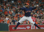 Houston Astros' pitcher Framber Valdez delivers against the Los Angeles Angels after replacing starter Charlie Morton in the second inning of a baseball game Sunday, Sept. 23, 2018, in Houston. (AP Photo/Richard Carson)