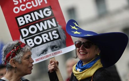 Anti-Brexit protestors demonstrate outside the Houses of Parliament in London