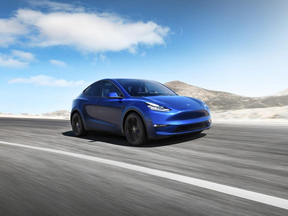 Tesla Inc's Model Y electric sports utility vehicle is pictured in this undated handout photo released on March 14, 2019.